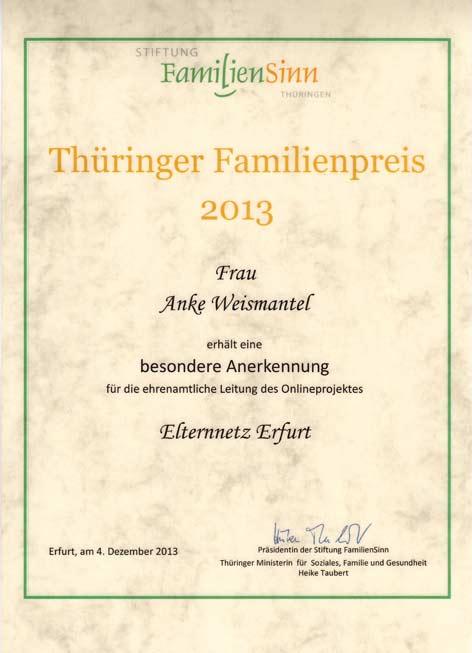 Anerkennung Thüringer Familienpreis 2013